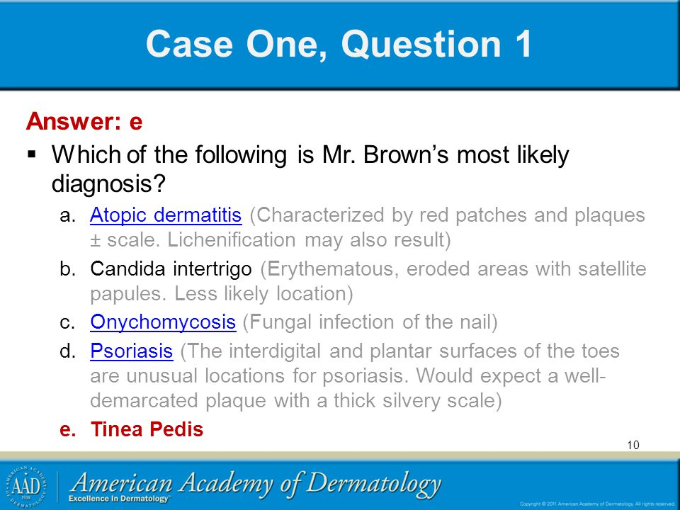 Case One, Question 1 Answer: e