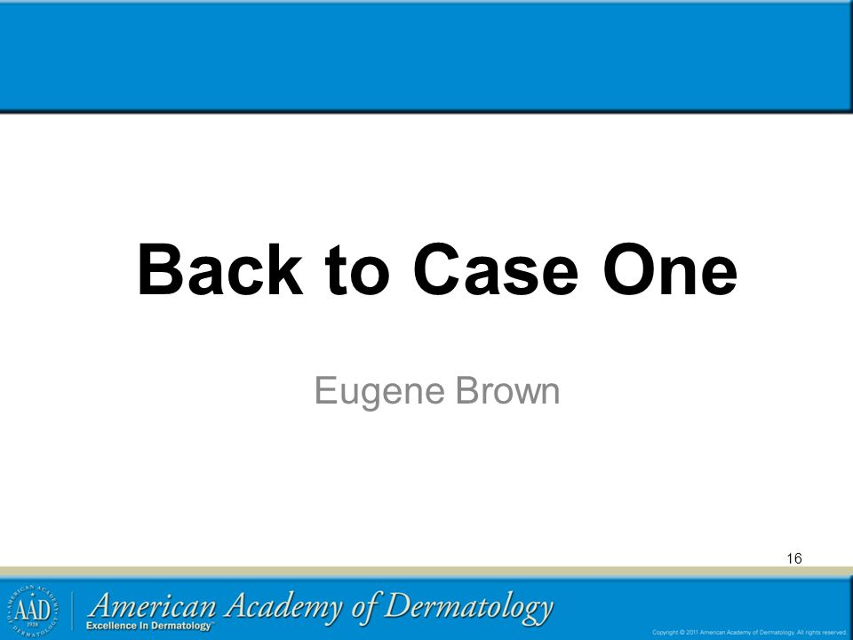 Back to Case One Eugene Brown