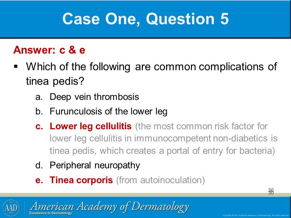 Case One, Question 5 Answer: c & e