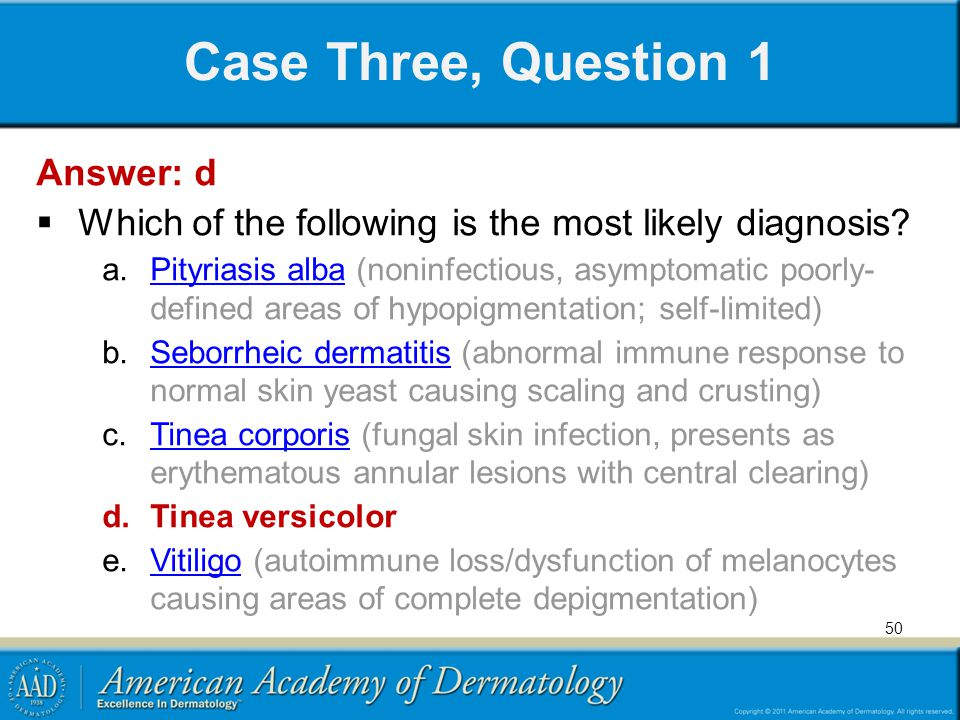 Case Three, Question 1 Answer: d