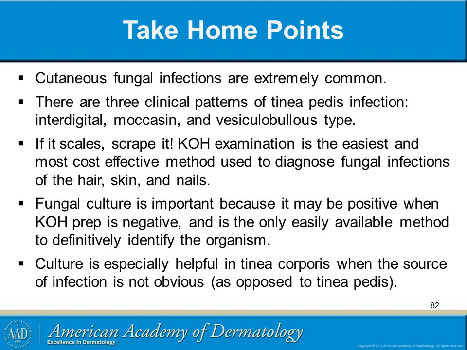Take Home Points Cutaneous fungal infections are extremely common.