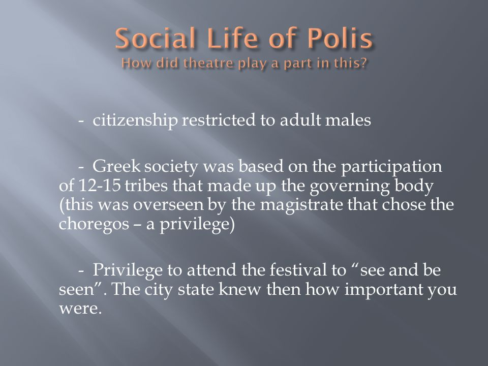 Social Life of Polis How did theatre play a part in this