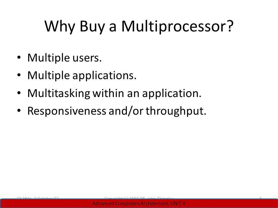 Why Buy a Multiprocessor