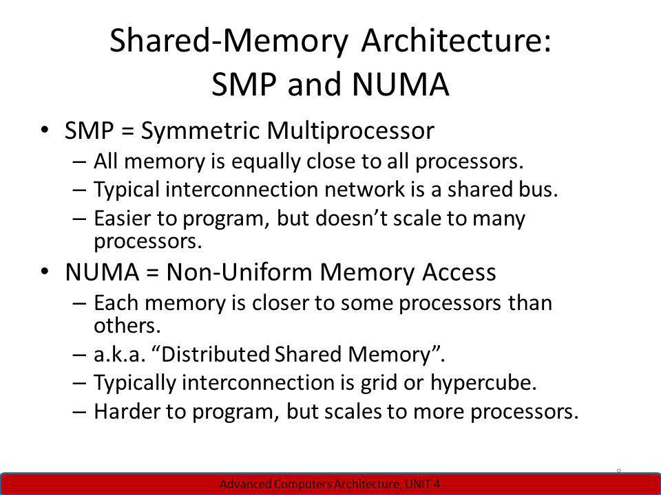 Shared-Memory Architecture: SMP and NUMA