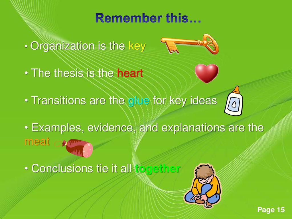 Remember this… The thesis is the heart