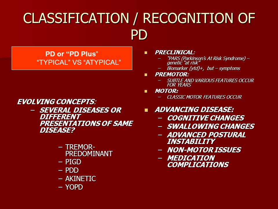 CLASSIFICATION / RECOGNITION OF PD