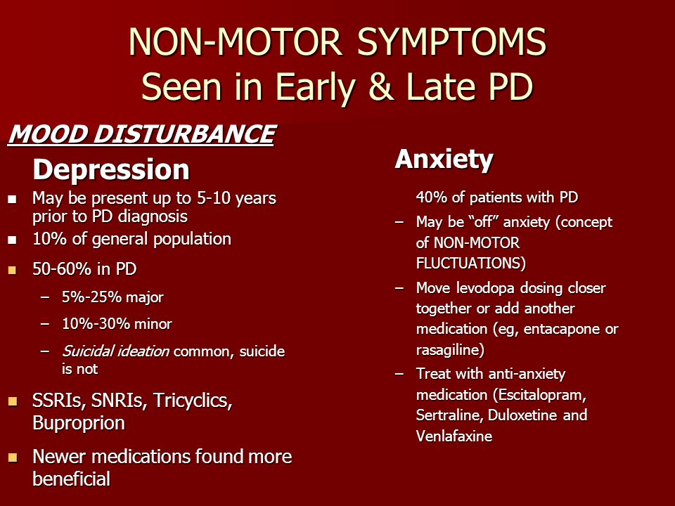 NON-MOTOR SYMPTOMS Seen in Early & Late PD