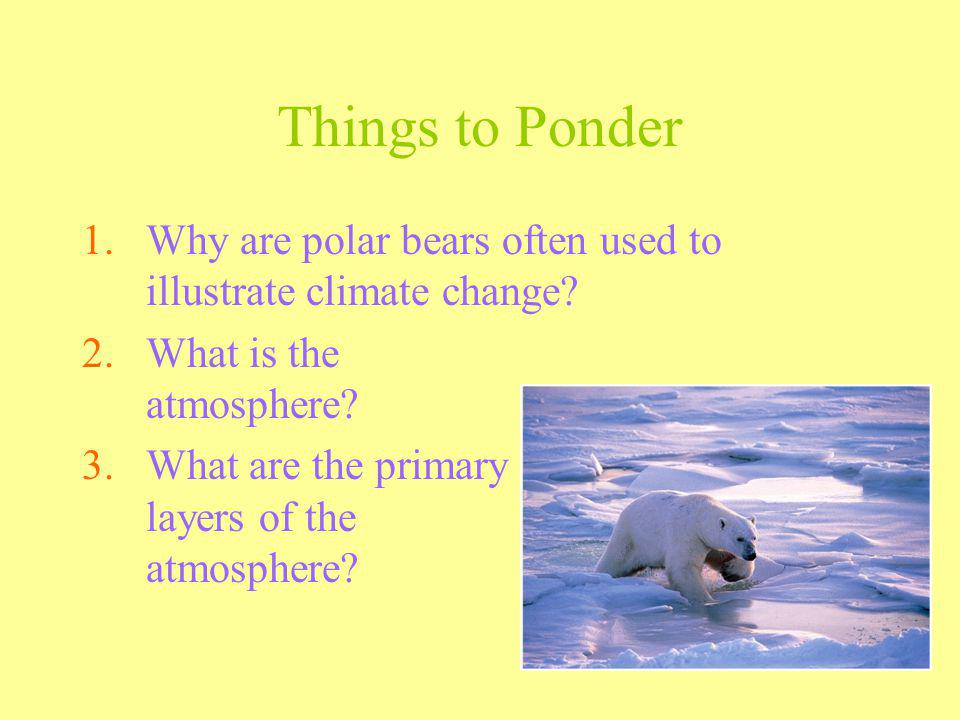 Things to Ponder Why are polar bears often used to illustrate climate change What is the atmosphere