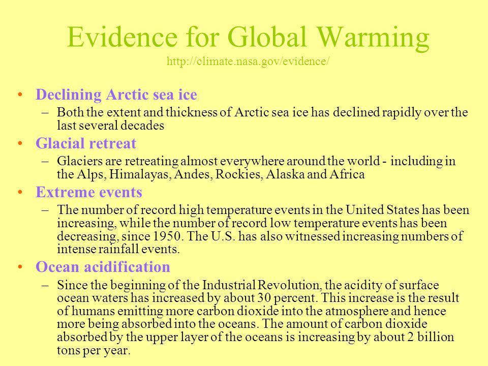 Evidence for Global Warming http://climate.nasa.gov/evidence/