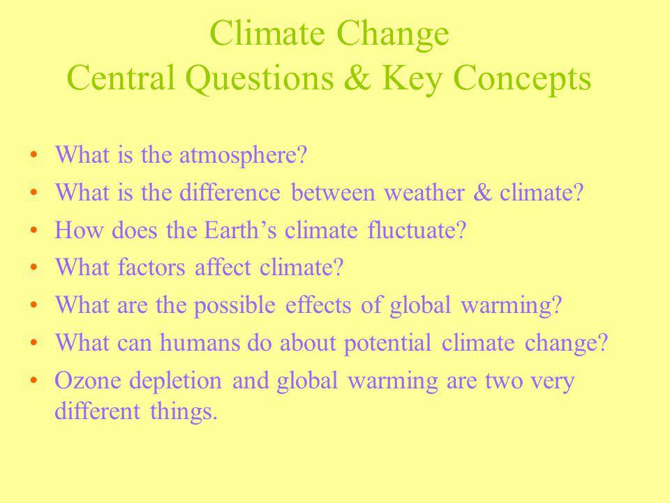 Climate Change Central Questions & Key Concepts