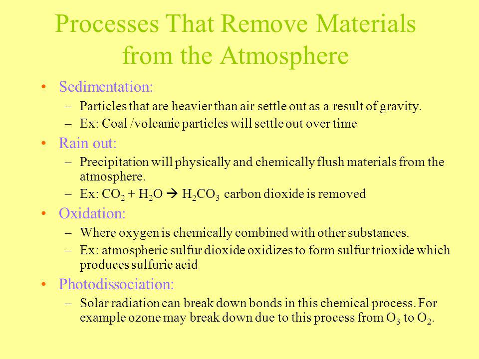 Processes That Remove Materials from the Atmosphere