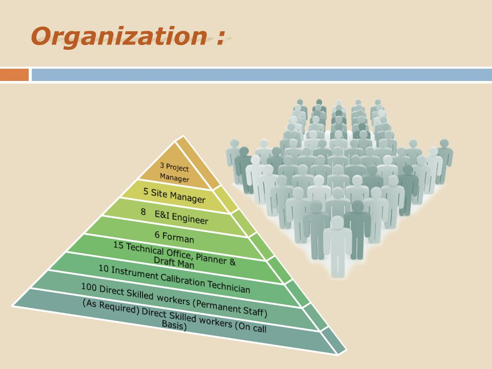 Organization : 3 Project Manager 5 Site Manager 8 E&I Engineer