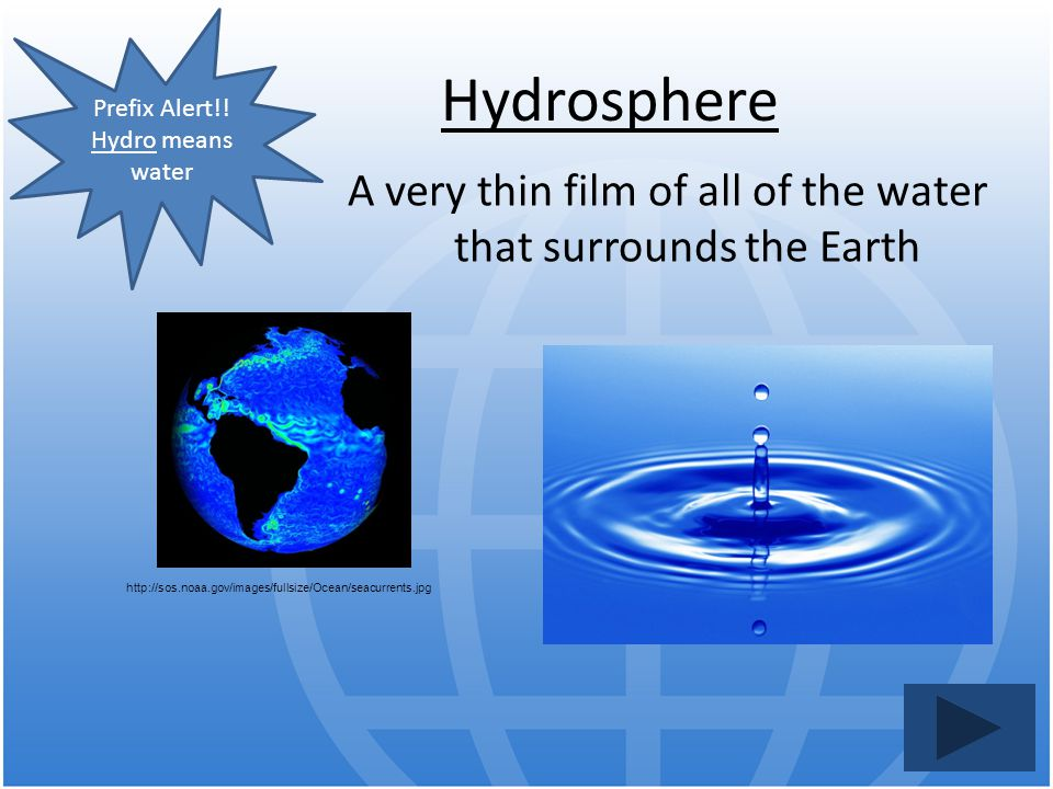 A very thin film of all of the water that surrounds the Earth