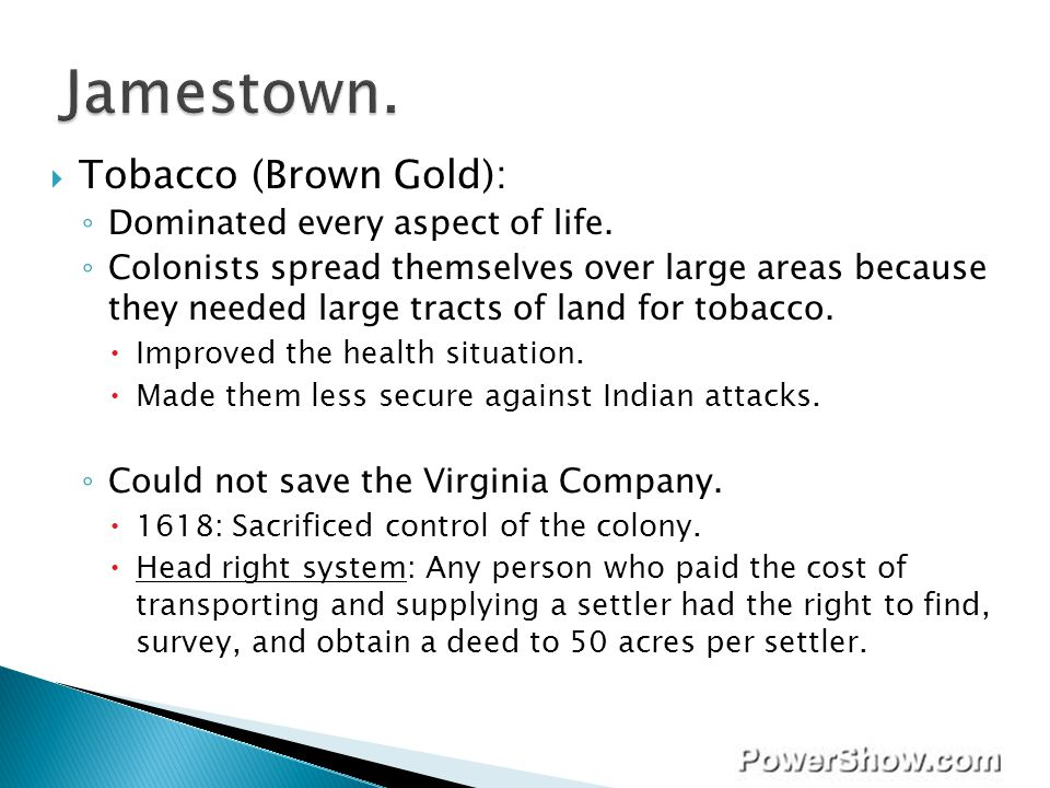 Jamestown. Tobacco (Brown Gold): Dominated every aspect of life.