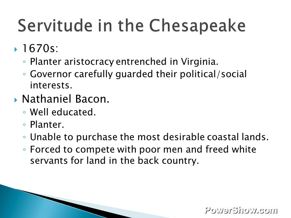 Servitude in the Chesapeake