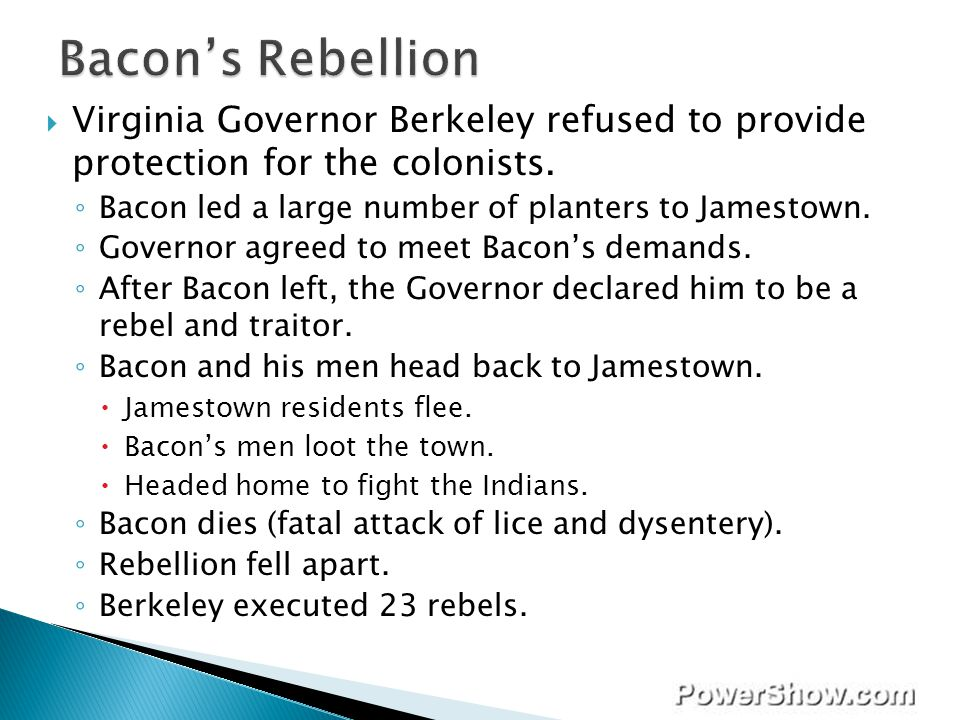 Bacon's Rebellion Virginia Governor Berkeley refused to provide protection for the colonists. Bacon led a large number of planters to Jamestown.