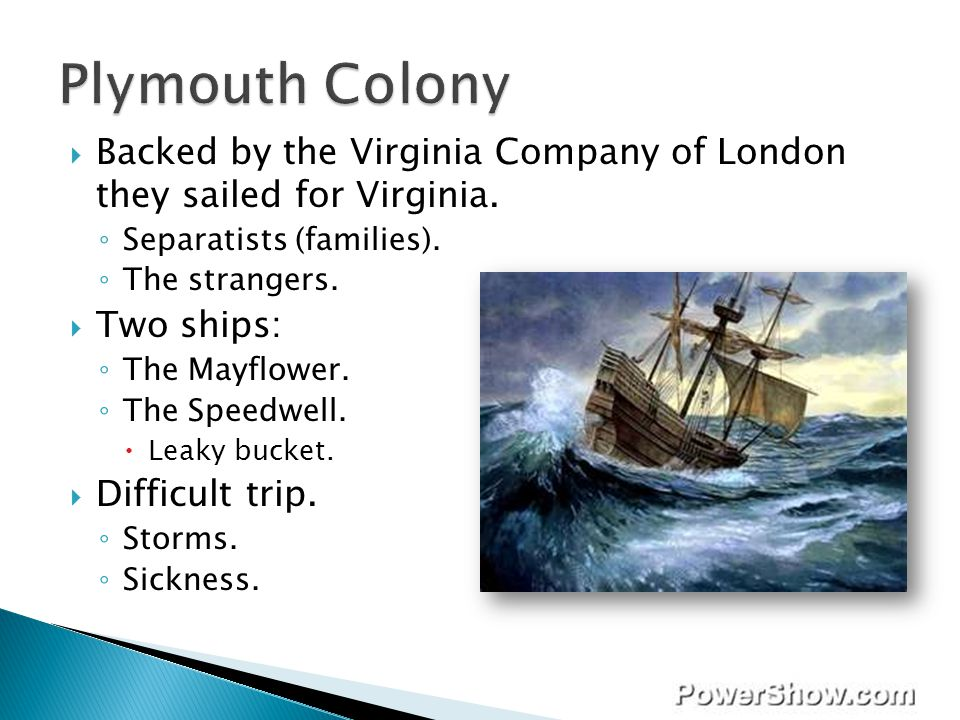 Plymouth Colony Backed by the Virginia Company of London they sailed for Virginia. Separatists (families).