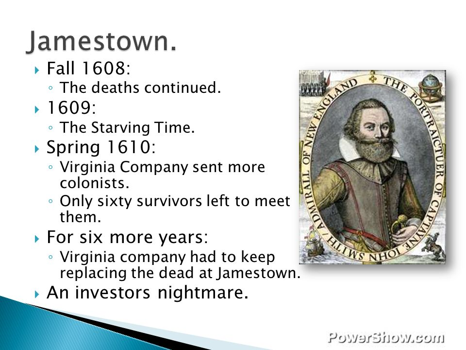 Jamestown. Fall 1608: 1609: Spring 1610: For six more years: