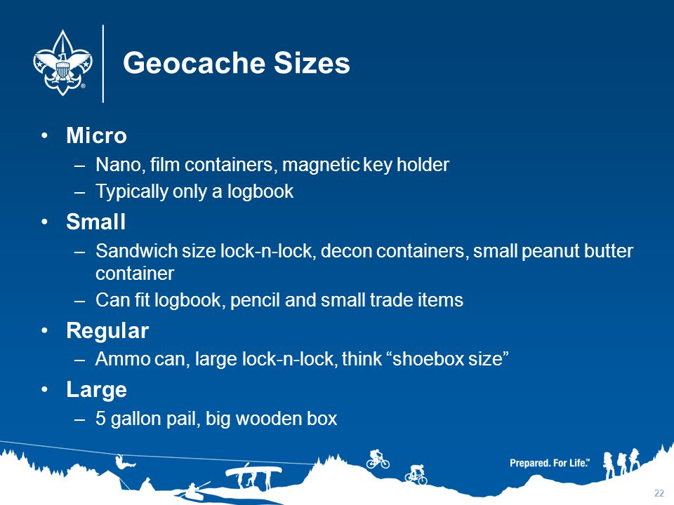 Geocache Sizes Micro Small Regular Large