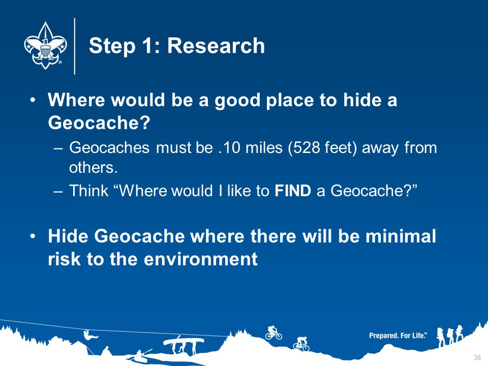 Step 1: Research Where would be a good place to hide a Geocache