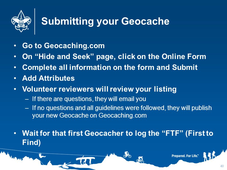 Submitting your Geocache