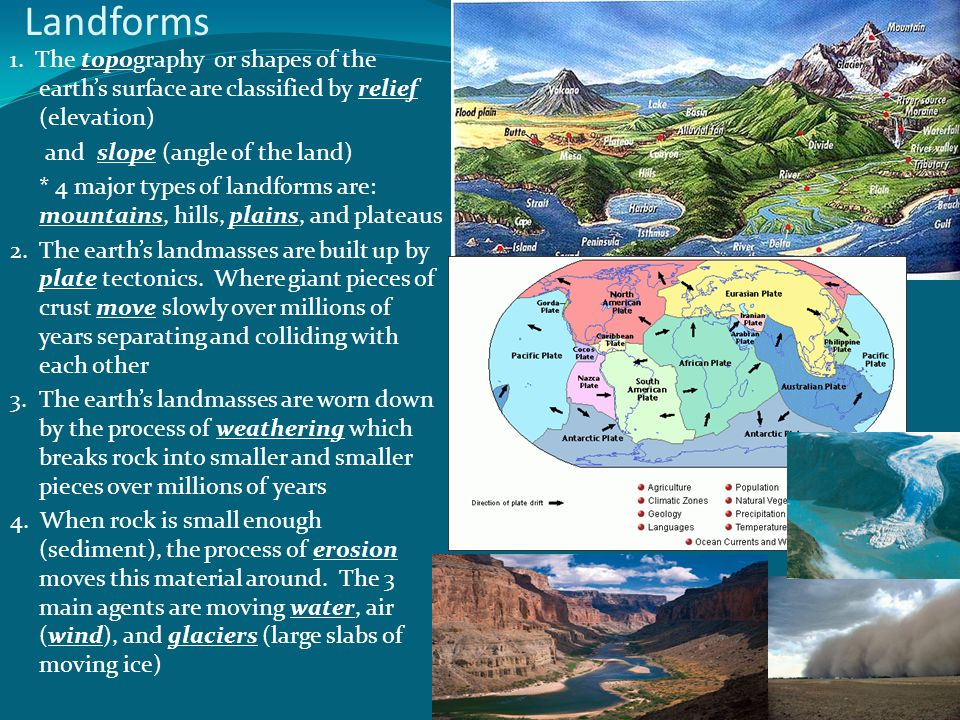 Landforms 1. The topography or shapes of the earth's surface are classified by relief (elevation)