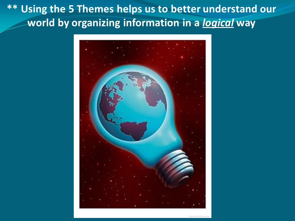 ** Using the 5 Themes helps us to better understand our world by organizing information in a logical way