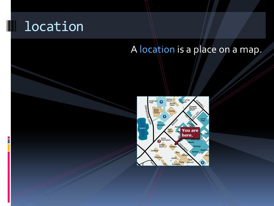 location A location is a place on a map.
