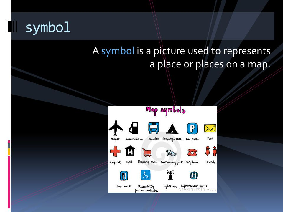 symbol A symbol is a picture used to represents a place or places on a map.