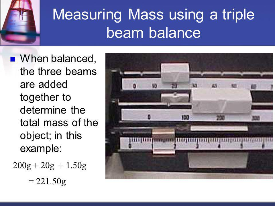 Measuring Mass using a triple beam balance