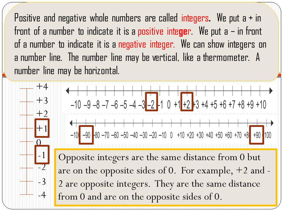 Positive and negative whole numbers are called integers