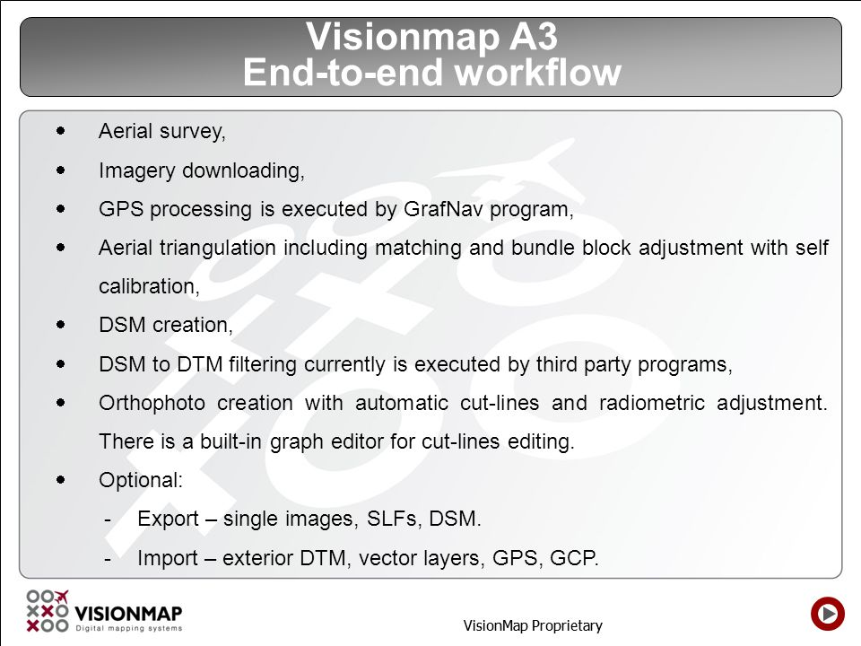 Visionmap A3 End-to-end workflow