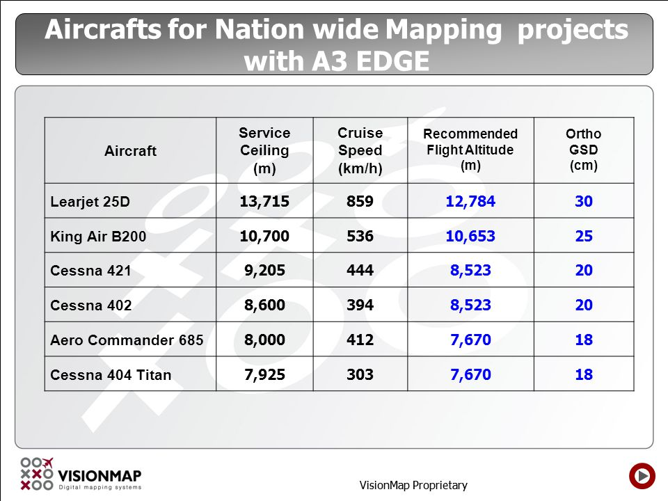 Aircrafts for Nation wide Mapping projects with A3 EDGE