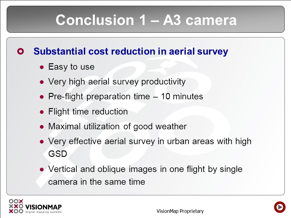 Conclusion 1 – A3 camera Substantial cost reduction in aerial survey