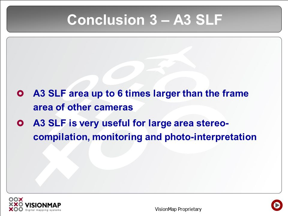 Conclusion 3 – A3 SLF A3 SLF area up to 6 times larger than the frame area of other cameras.