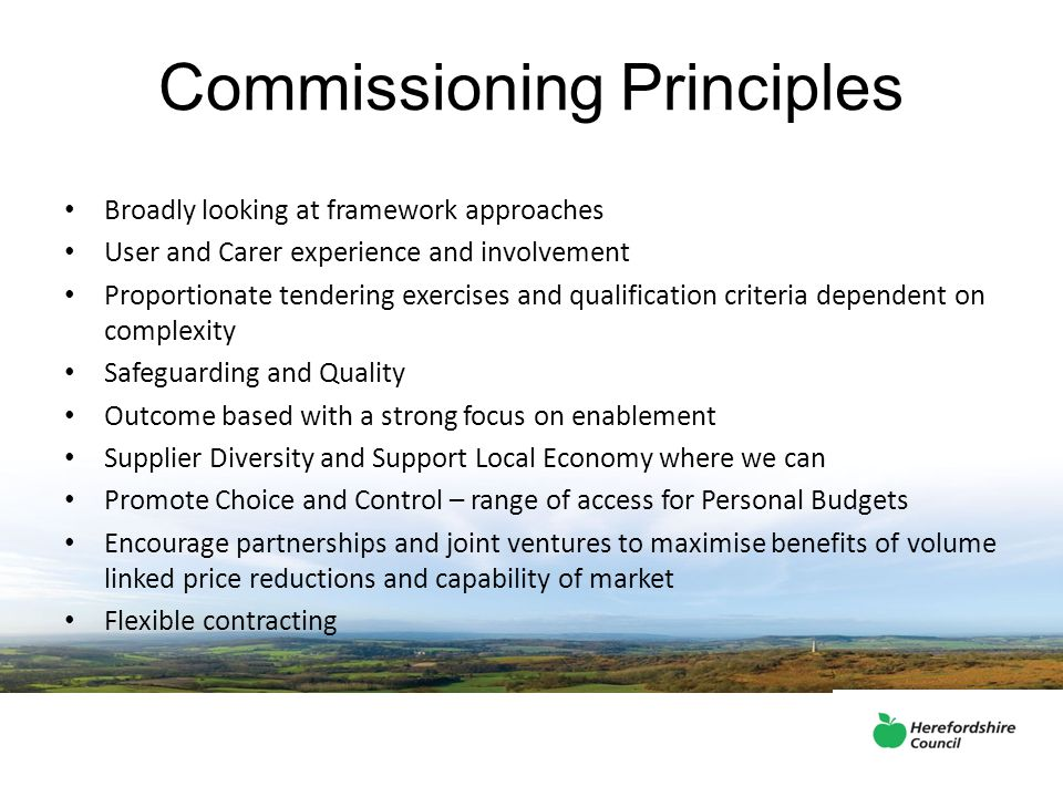 Commissioning Principles