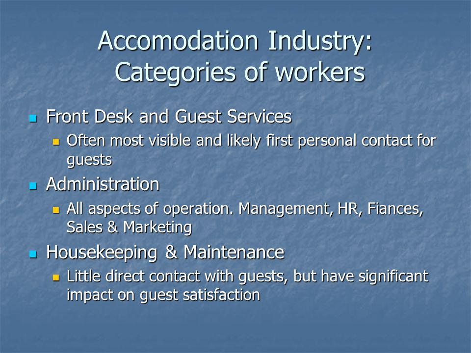 Accomodation Industry: Categories of workers