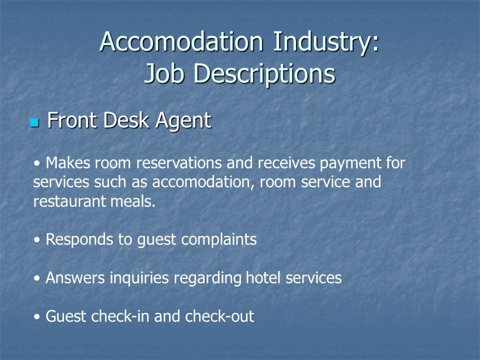 Accomodation Industry: Job Descriptions
