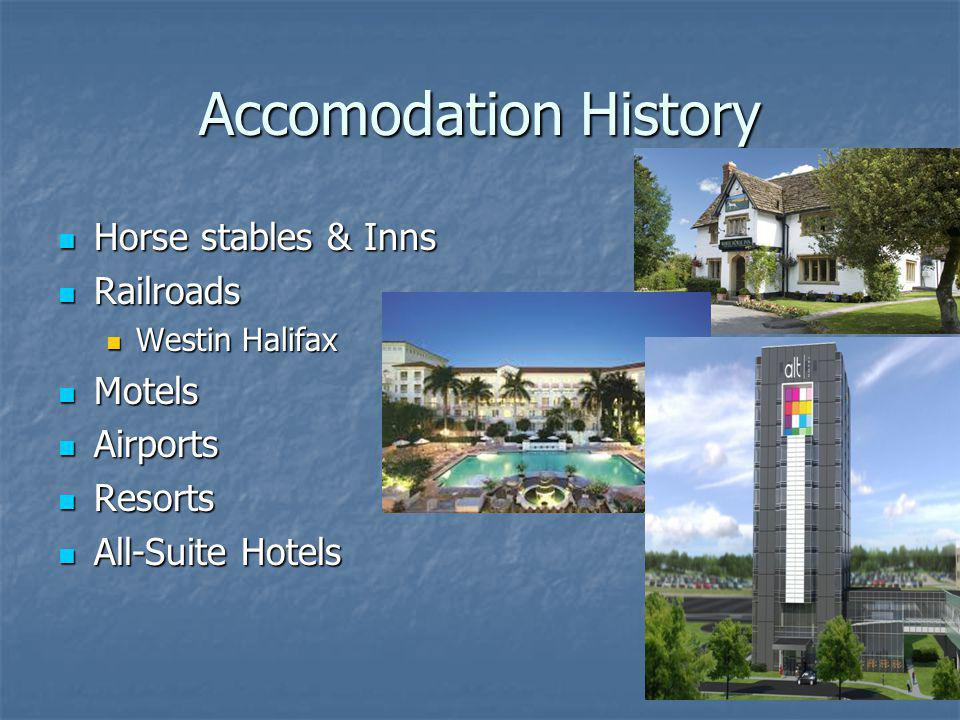 Accomodation History Horse stables & Inns Railroads Motels Airports