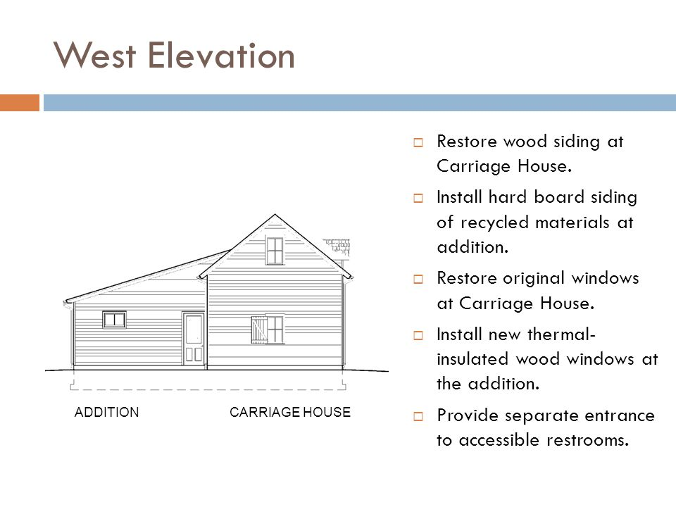 West Elevation Restore wood siding at Carriage House.