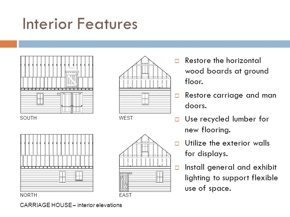 Interior Features Restore the horizontal wood boards at ground floor.