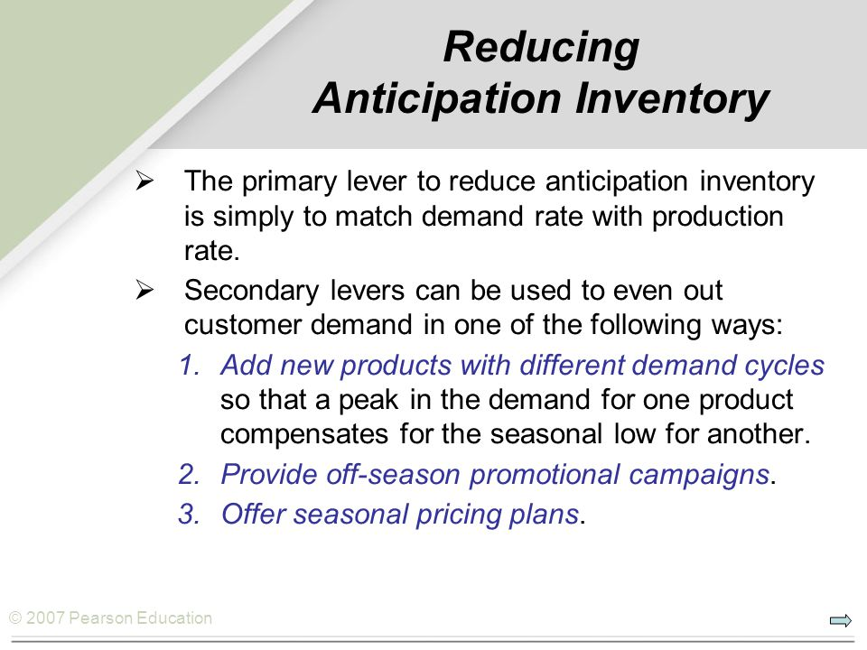 Reducing Anticipation Inventory