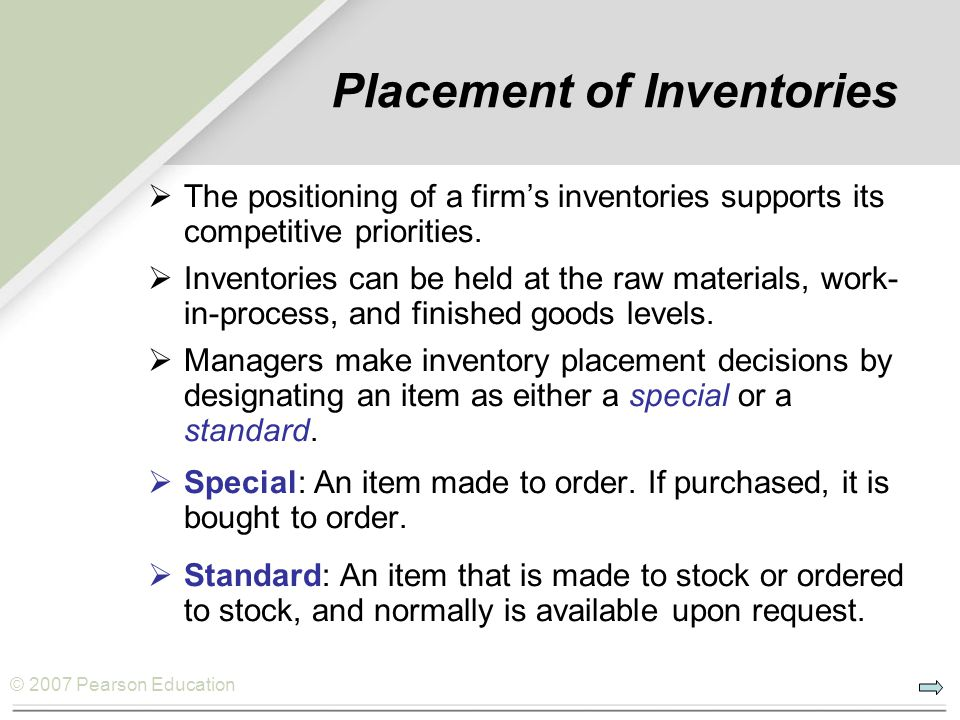 Placement of Inventories