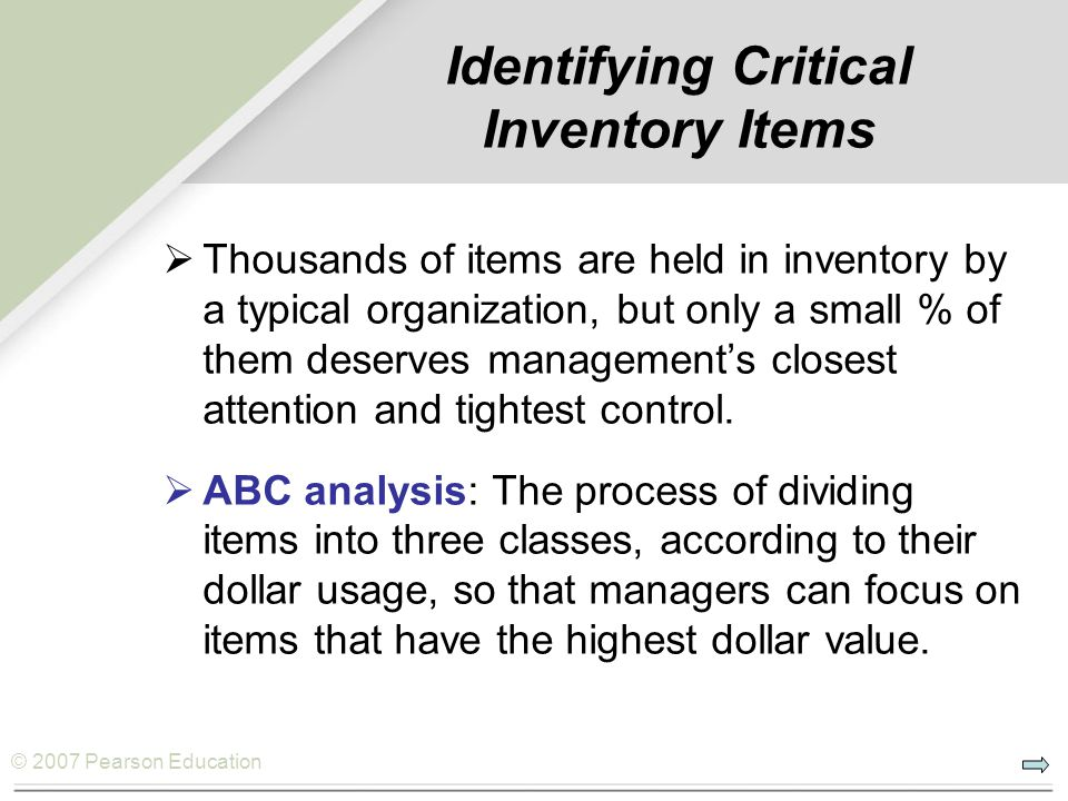 Identifying Critical Inventory Items