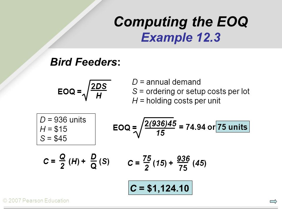 Computing the EOQ Example 12.3