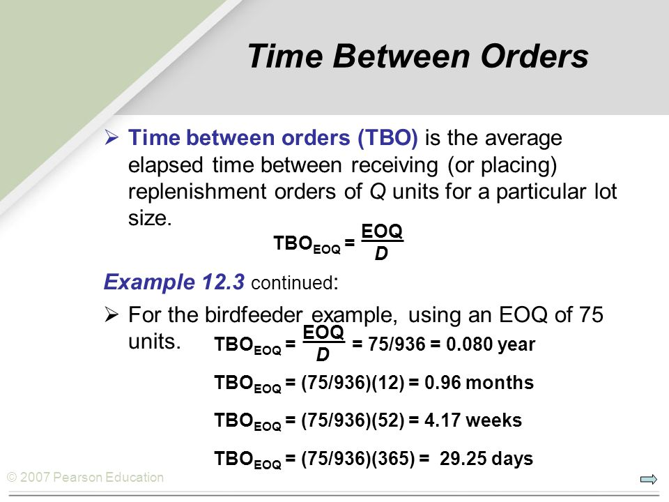 Time Between Orders