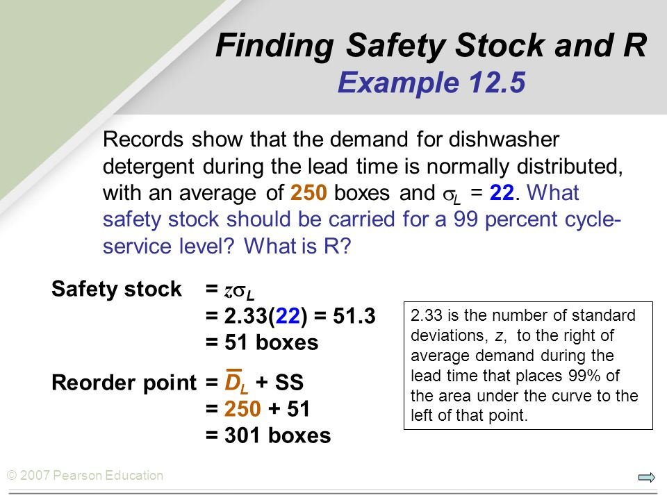Finding Safety Stock and R Example 12.5