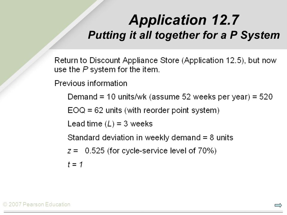 Application 12.7 Putting it all together for a P System