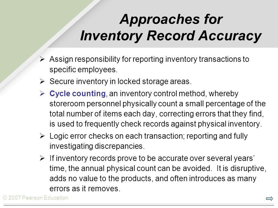 Approaches for Inventory Record Accuracy