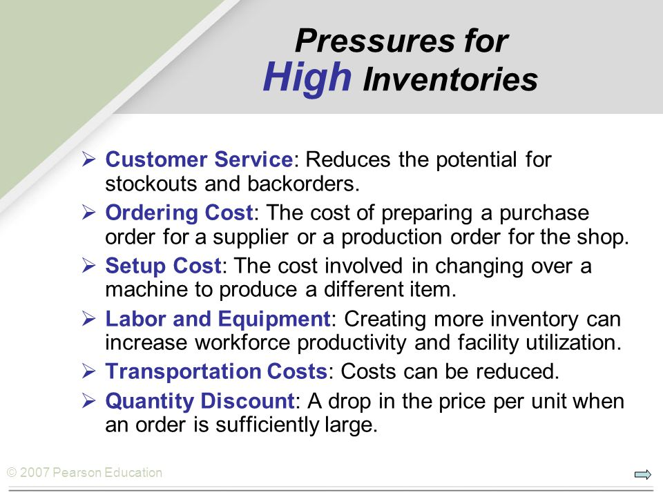 Pressures for High Inventories